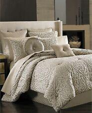 J Queen New York Astoria King Comforter 4 piece set Sand Beige Taupe Scroll