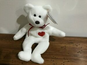 Beanie Babies TY Bear Valentino Multiple Errors Brown Nose Eyes Baby EXCELLENT