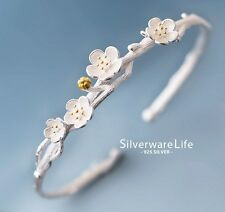 Silver & gold cherry blossem flowers on branch cuff bangle bracelet Gift Box S5