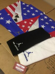 BUNDLE Jordan 6 7 DMP defining Moments American Flag Dust Bag LACE LOCKS TOWELS