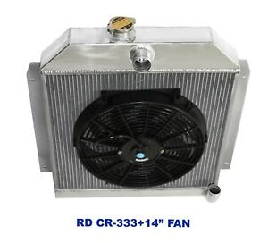 "for 49-52 Plymouth Chrysler Coupe Sedan 6CYL 3 Row Performance RADIATOR+14""Fan"