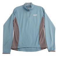 SWIX Women's Lightweight Pullover Jacket Shirt L 1/4 Zip Mock Neck Blue Gray