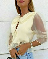 Zara Yellow Cream Contrast Knit Sweater Blouse Top Frill Bloggers Fave Uk L
