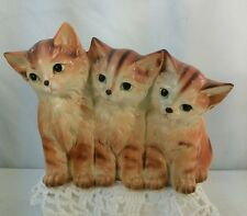 Vtg Napco Japan 50's Pottery Three Tabby Orange Tiger Kitten Planter window herb