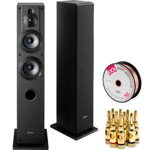 Sony 3-Way 4-Driver Bass Reflex Stereo Floor-Standing Speaker SS-CS3+Wire Bundle