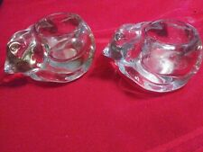2Vintage Heavy Crystal Glass Cat Candle Holders Trinket Bowls Clear Nice Avon