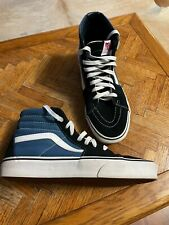 Vans Blue High Top Canvas Suede Leather Sneakers Shoes Sz 8.5 Mens and 10 Womens