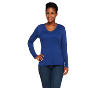 Isaac Mizrahi Live! Essentials Long Sleeve Knit Top Deep Blue Color Size M