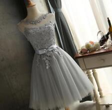 WOmen's White Lace Wedding Bridesmaids Short Evening Party cocktail Dress USXL