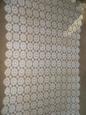 "Vintage Ecru Crochet Lace Tablecloth Runner 93"" x 56"""