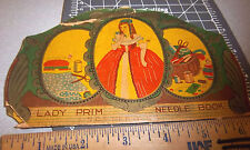 Vintage Lady Prim Sewing Needle Book, great graphics & colors