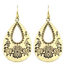 Teardrop Drop Dangle Earrings E1085 Vintage Style Antique Gold Hollow Flower