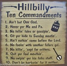 Hillbilly 10 Commandments Primitive Country  Wood Sign Home Decor