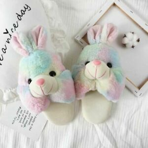 Women's Winter Plush Slippers Cute Heart Color Home Furry Indoor Cotton Shoes