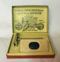 *Vintage GILLETTE SUPER SPEED Safety Razor w SPEED PAK Blade Dispenser in Box