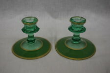 Pair of 2 Green Uranium Vaseline UV Depression Glass Candlesticks w/Gold Trim