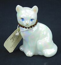 Fenton Art Glass Cat Ruby July Birthstone Figurine Opalescent Signed Blue Eyes