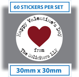 60 x Personalised Happy Valentines Day Stickers Card Labels Seals 30mm white