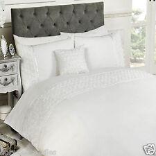 Limoge White King Size Duvet Cover and 2 Pillowcases Bedset Bedding Raised