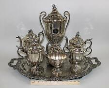 Antique 19thC Victorian English Silverplate Teaset & Tray, Hot Water Urn Teapot
