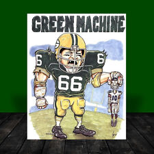RAY NITSCHKE Green Bay Packers POSTER ART, artist signed, football, vintage NFL