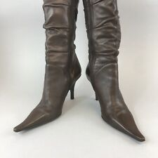 Bronx Brown Leather Mid Calf Pull On Zip Sexy Heels Boho Slouch Boots 38 UK5