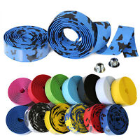 Handlebar Anti-Skid Bicycle Road Bike Sport Cork Grip Wrap Ribbon Tape Bar Plug