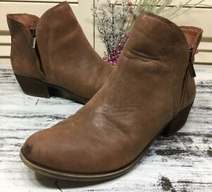 Lucky Brand  Brenon  Womens Brown Leather Ankle Boots Size 6.5 M Booties Zipper