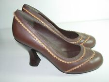 WOMENS BROWN CAMEL LEATHER PUMPS CAREER COMFORT HIGH HEELS SHOES SIZE 5.5 M