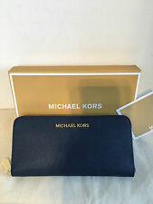 Auth Michael Kors Continental Jet Set Zip-Around Wallet Navy Blue