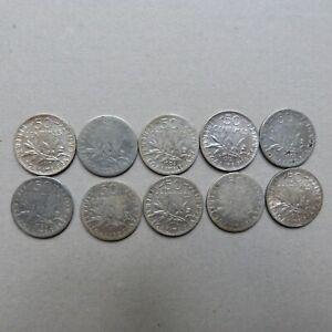 Lot 10 pièces 50 centimes SEMEUSE ARGENT (2)
