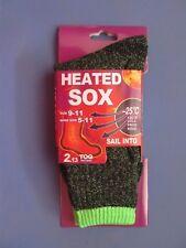 Heated Winter Warm Thermal Heavy Duty Sox Socks Size 9-11 5 pairs Green NEW