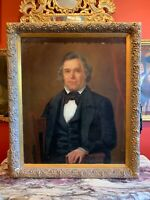 19th Century Large Oil on Canvas Portrait of Gentleman