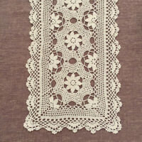 Vintage Crochet Table Runner Dresser Scarf Ecru Lace Doily 15x82inch Cotton