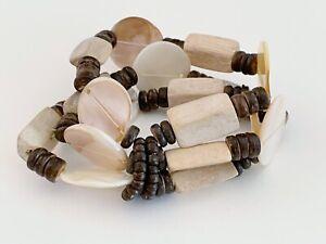 MULTI-STRAND WOOD BEAD AND SHELL MULTI-STRAND STRETCH BRACELT -- SO MUCH FUN