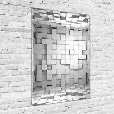 Wand-Bild Kunstdruck aus Hart-Glas Hochformat 70x100 3D-Würfel