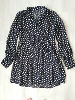Size 14 Sheer Spotty Navy Blue Tea Dress Tunic Summer Tie Front Polkadot Retro