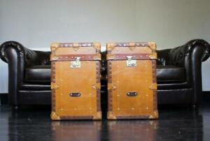 Pair of English Tan Leather Cabin Trunk Chests-Antique Leather Trunk