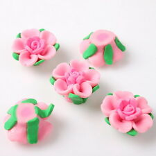 30pcs 112493 Hotsale Pink Double Flower FIMO Polymer Clay Charms Spacer Beads