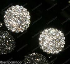 CLIP ON diamante 1cm ROUND RHINESTONE crystal EARRINGS