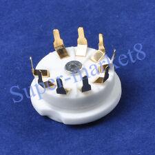 9Pin Ceramic Pcb Mount Gold Tube Socket 12Ax7 Ecc82 2pcs