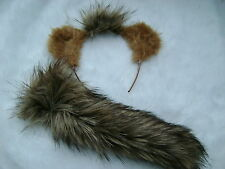 Alvin And The Chipmunks Ears And Tail Set Luxury Brown Faux Fur Fancy Dress NEW