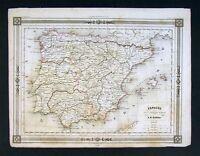1842 Bocage Map - Ancient Spain & Portugal - Roman Era