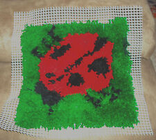 "Ladybug completed 12"" Natura latch hook rug or wall hanging Valentine Love Bug"