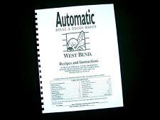 West Bend Bread Maker Machine Instruction Manual Recipe 41090 91 91R 95 99 L4981