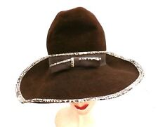 Vintage Mr. John Jr Wide Brimmed Tall Hat Faux Snakeskin Purse Brown 1970S