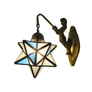 Tiffany Style Mermaid Wall Light Porch Lamp Bedroom Frosted Glass Wall Sconce