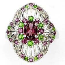 Sterling Silver 925 Genuine Rhodolite & Chrome Diopside Ring Size O1/2 (US 7.5)
