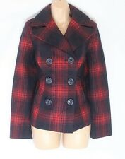 Women's Vintage OLD NAVY Hip Length Check Blue Tweed Wool Pea Coat Jacket SMALL
