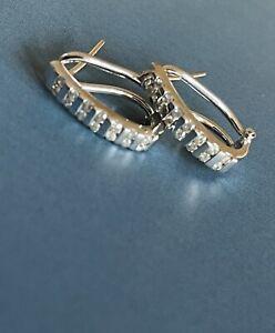 9ct White Gold Diamond Earrings 0.30ct huggies hoops Hallmarked Leverback
